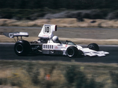 Warwick Brown in his new Lola T332 at Teretonga Park in January 1974. Copyright Kevin Thomson  2011. Used with permission.