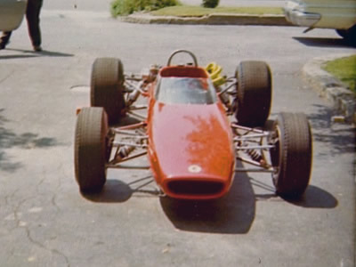 The brand new McLaren M4A destined for Chuck Dietrich arrives at Robert Amey's house in June 1967. Copyright Frederick Amey 2014. Used with permission.
