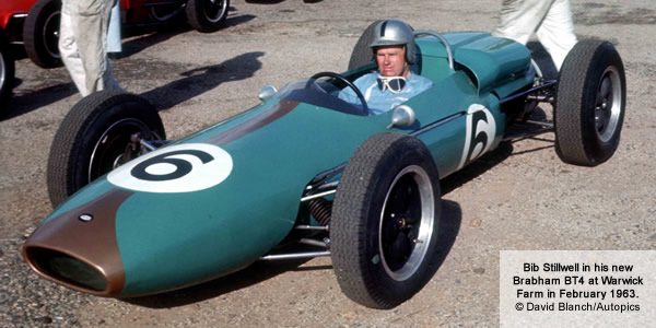 Bib Stillwell in his new Brabham BT4 at Warwick Farm in February 1963.  Photograph by Laurie Johnson. Copyright David Blanch (Autopics)  2015. Used with permission.