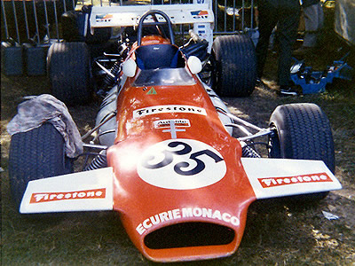 The Ecurie Monaco Brabham BT30 at Rouen in 1971. Copyright Gerard Barathieu. Used with permission.