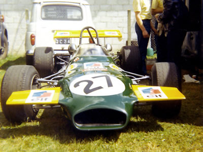 Henri Pescarolo's Brabham BT30-15 at Rouen in 1970. Copyright Gerard Barathieu. Used with permission.