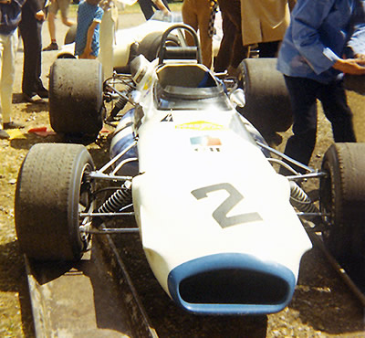 Jack Brabham's John Coombs Brabham BT30-17 at Rouen in 1970. Copyright Gerard Barathieu. Used with permission.