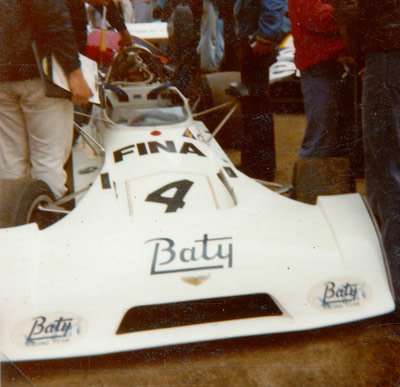 James Hunt's Team Baty Chevron B27 at Rouen in 1974. Copyright Gerard Barathieu . Used with permission.