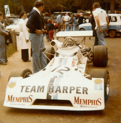 Dieter Quester's Team Harper Chevron B27 at Rouen in 1974. Copyright Gerard Barathieu . Used with permission.