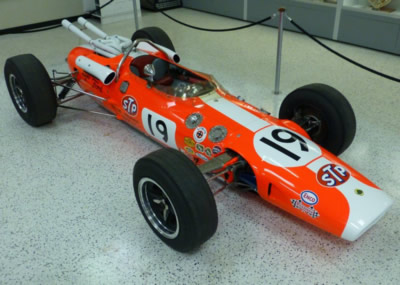 Jim Jaeger's Lotus 38 on display in the Indianapolis Motor Speedway Museum in May 2015, now in Jim Clark's 1966 livery. Copyright Ian Blackwell  2015. Used with permission.