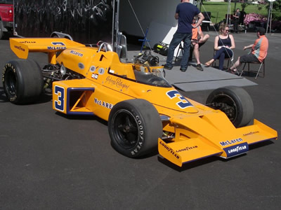 The 1974 Indy 500 winning McLaren M16C on display at Indianapolis in 2016. Copyright Ian Blackwell  2016. Used with permission.