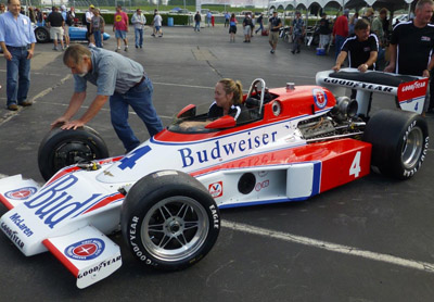 A McLaren M24/M24B restored to 1979 Budweiser livery at the Historic Indycar Exhibition in May 2017. Copyright Ian Blackwell 2017. Used with permission.