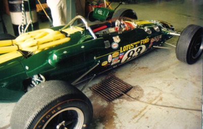 Lotus 38/4 at Walter Goodwin's workshop in 2000 prior to being shipped out for the Goodwood Festival of Speed. Copyright Brian Brown  2009. Used with permission.