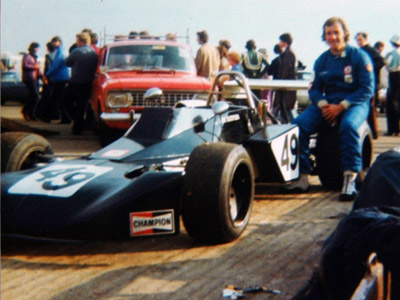 Len Booysen with the Brabham BT40 that he raced in British Formula Atlantic in 1975. Copyright Doug Brown 2006. Used with permission.