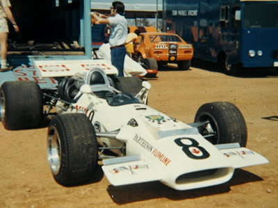 Jackie Pretorius' Doug Serrurier-owned Surtees TS5 in the Bulawayo paddock in 1970. Copyright Doug Brown . Used with permission.
