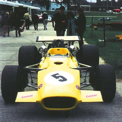 Willie Forbes' Lola T142 at Ingliston on 7 Sep 1969 for a libre race. Copyright John Brown  2006. Used with permission.