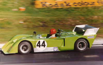John Cole or Mark Cole in their green Chevron B19/21/23/26 at the Brands Hatch 1000 km in Sep 1974. Copyright Richard Bunyan 2009 . Used with permission.