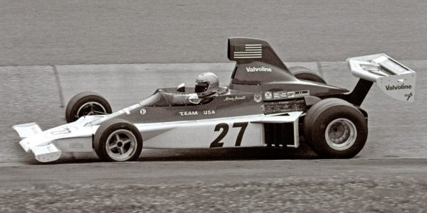 Mario Andretti in the Parnelli VPJ4 in the Karussell at the Nürburgring during the 1975 German Grand Prix. Copyright Frans van de Camp, <a href='camp-archives.com'>CAMP-ARCHIVES.com</a>  2020. Used with permission.