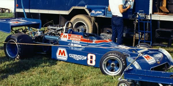 Peter Gethin's Marathon Oils Chevron B24 in the paddock at Mid-Ohio in 1973. Copyright Terry Capps  2013. Used with permission.