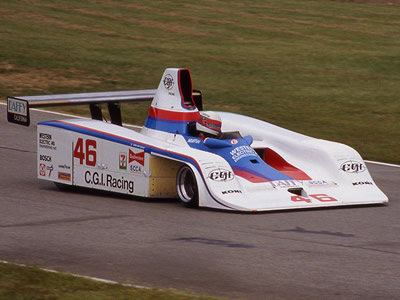 John Morton in the CGI Racing Frissbee at Mid-Ohio in 1982. Copyright Terry Capps  2014. Used with permission.