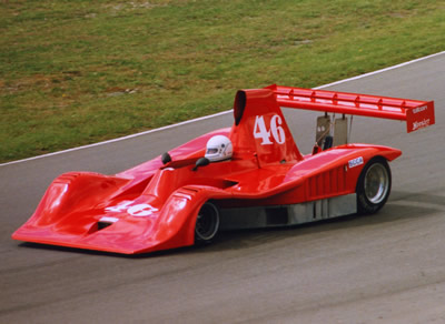 Ray Reimer in his rebuilt Lola T332, rebodied as a Frissbee.  This picture is believed to be at Mosport Park in September 1986. Copyright Terry Capps  2014. Used with permission.
