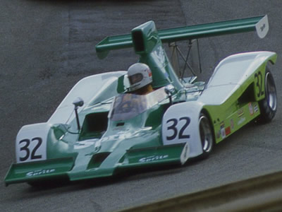 Charlie Kemp in his Sprite-liveried Lola T332 at Laguna Seca in 1979. Copyright Terry Capps  2014. Used with permission.