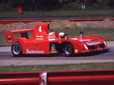Stephen South in the Budweiser Newman Lola T530 at Mid-Ohio in 1980. Copyright Terry Capps  2014. Used with permission.