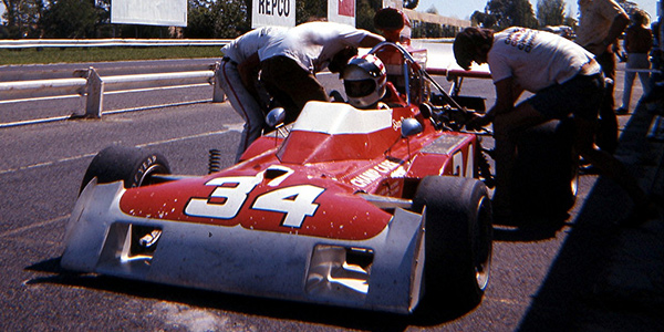 Sam Posey in his Surtees TS11 in the pits at Sandown Park in 1973.  Copyright Stewart Clark 2017. Used with permission.