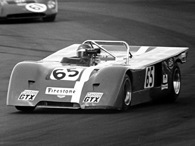 John Hine's Group 5 Chevron B19 at Brands Hatch in August 1971. Copyright Peter Collins 2009. Used with permission.