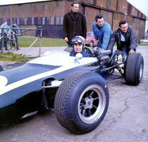 Roy Salvadori testing the Cooper T80 in early 1966. Copyright The Michael Cooper Archive (<a href='http://www.motorsportimage.co.uk' target='_blank'>www.motorsportimage.co.uk</a>)  2017. Used with permission.