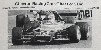 Chevron's advert for the ex-Rahal Chevron B48 in Autosport in November 1979.