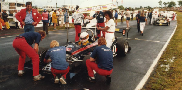 Davy Jones' car is prepared on the grid for the 1984 New Zealand Grand Prix.  Copyright Kevin Corin 2016.  Used with permission.