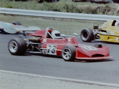 Diana Black in her red March 73B at Lime Rock in 1975. Copyright Frank Cornell 2020. Used with permission.