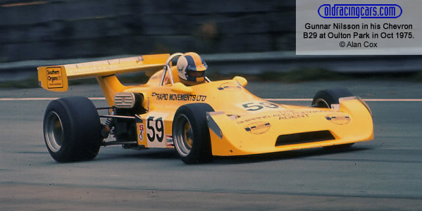 Gunnar Nilsson in Ted Moore's Rapid Movements Ltd Chevron B29 at Oulton Park in October 1975.  Copyright Alan Cox 2010.  Used with permission.