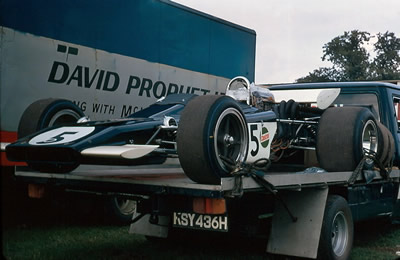 An unusual angle on Jock Russell's Lotus 70 at Oulton Park late 1970. Copyright Alan Cox  2006. Used with permission.