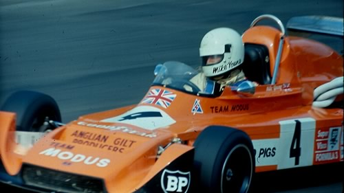 Mike Young at Mallory Park in August 1976 in his Modus M1.  Copyright Alan Cox 2010.  Used with permission.