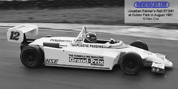 Jonathan Palmer in the West Surrey Ralt RT3/81 at Oulton Park in August 1981.  Copyright Alan Cox 2009.  Used with permission.
