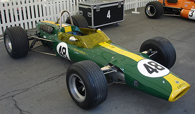 The restored Lotus 48 R1 at Montjuich Park in 2007.  Image has been released into the Public Domain by its copyright holder.