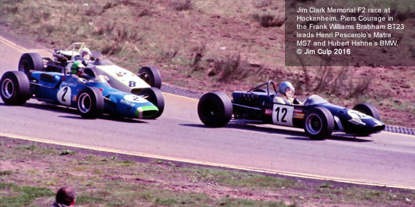 Jim Clark Memorial F2 race at Hockenheim. Piers Courage in the Williams/Brabham BT23 leads Henri Pescarolo, Matra MS7 and Hubert Hahne, BMW. Copyright Jim Culp 2016. Used with permission.