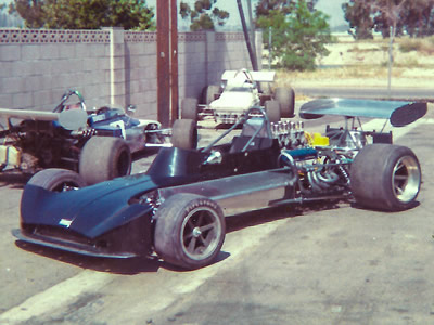 Bob Lazier's March 73A at Wilbur Bunce's Miller St. shop next door to Anaheim Lake in May 1973, prior to the crash at Riverside. Copyright Alan Degasis 2016. Used with permission.