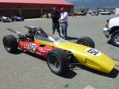 Steve Morici's Gilbert at Fontana in 2011, still with John Martin's #92 livery on the sidepods but with new yellow top bodywork as used by George Follmer in 1969. Copyright Philippe de Lespinay . Used with permission.