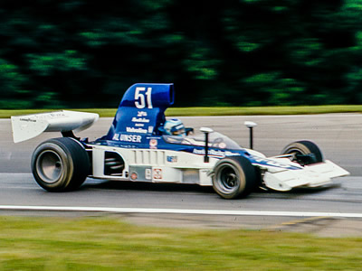 Al Unser in his Lola T332 at Mid-Ohio in 1976. Copyright Richard Deming  2016. Used with permission.