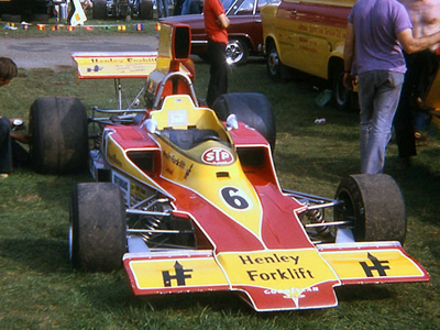 Ian Ashley's T330 HU17 at Mallory Park in 1974. Copyright Stuart Dent  2006. Used with permission.