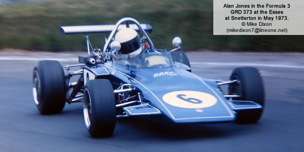 Alex Dias Ribeiro in the Hollywood GRD 374 is pursued at Oulton Park 28 Sep 1974 by the works SPI March 743 of José Chateaubriand and Nick von Preussen's March 733.  Copyright Alan Cox 2012.  Used with permission.