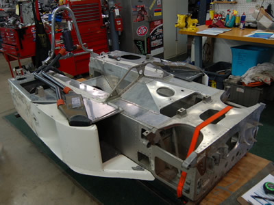 Jeff Urwin's Eagle undergoing restoration at Greg Eliff's GE Autosport shop in November 2014. Copyright Jacques Dresang 2016. Used with permission.