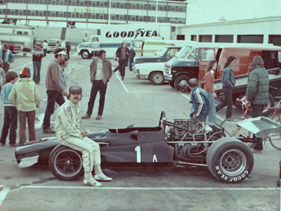 Jerome Dunwoody with his Lola T140 in the paddock at Riverside. Copyright Jerome Dunwoody  2014. Used with permission.
