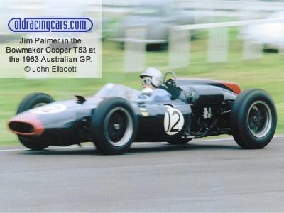 Jim Palmer in the Bowmaker Racing Team's Cooper T53 at the Australian Grand Prix at 