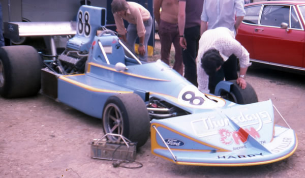 The first appearance of the new March 75A in the paddock at Snetterton in July 1975. Copyright Dr Brian S Ellis  2008. Used with permission.