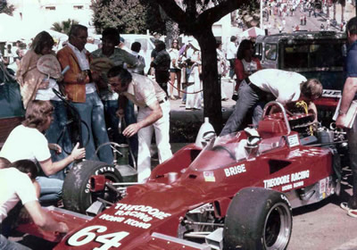 Tony Brise's Theodore racing Lola T332 HU37 in the preparation area at Long Beach 1975. Copyright Jerry Entin  2002. Used with permission.