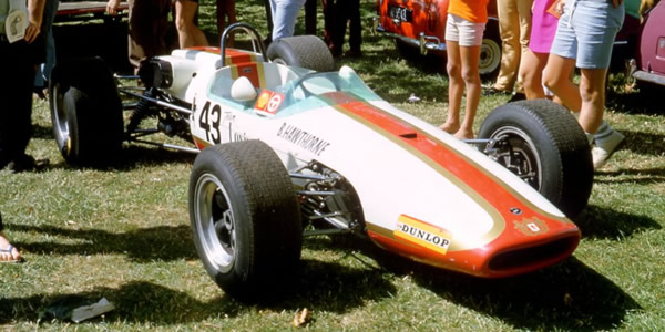 Bert Hawthorne's Brabham BT21 at the New Zealand Grand Prix in 1969. Copyright Mike Feisst  2009. Used with permission.