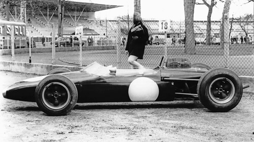 The prototype BT10 poses for the camera at Pau at the beginning of 1964. Copyright Ted Walker (Ferret Fotographics) 2013. Used with permission.
