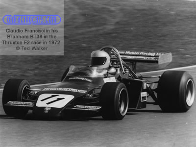Claudio Francisci in his Brabham BT38 in the Thruxton F2 race in 1972. Copyright Ted Walker 2019. Used with permission.