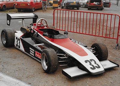 David Proctor's Monoposto Formula Brabham BT38C in the Mallory Park paddock in 1985. Copyright Ted Walker 2021. Used with permission.