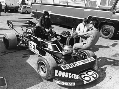 David Winstanley and his crew with his Falconer-bodied Brabham BT40 in 1976. Copyright Ted Walker 2019. Used with permission.