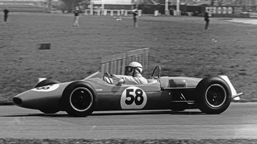 Rodney Bloor's Brabham BT9 at the Aintree 200 in 1964. Copyright Ted Walker (Ferret Fotographics)  2013. Used with permission.